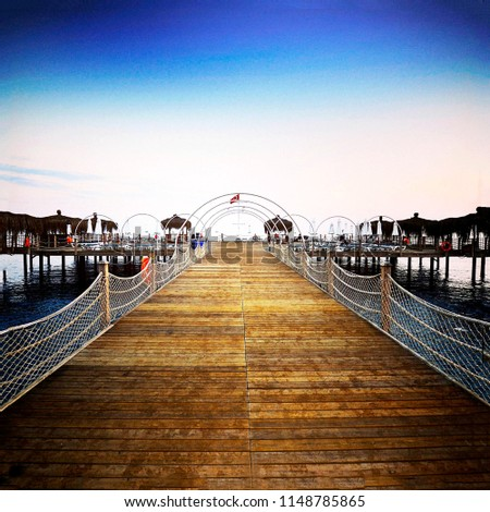 wooden bridge and pier by the sea #1148785865