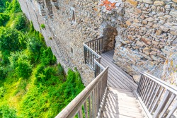 Wooden bridge and staircase in medieval castle