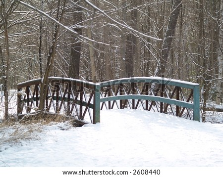 wooden bridge covered with snow