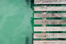 Wooden bridge floor, top view