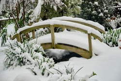 wooden bridge in a garden with a heavy snowfall