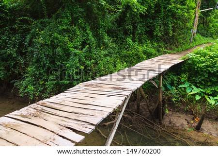 Wooden bridge in park Erawan, Kanchanaburi Thailand