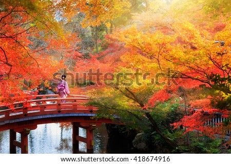 Photo of Wooden bridge in the autumn park, Japan autumn season, Kyoto Japan
