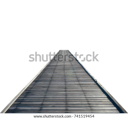 Wooden bridge isolated on white background. This has clipping path. #741519454