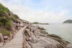 Wooden bridge on Koh Nang Yuan island, Thailand