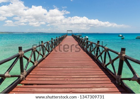wooden bridge on sea in sunny day #1347309731