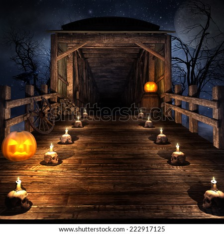 Wooden bridge on the night of  Halloween,  with candles and pumpkins