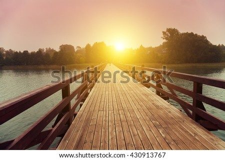 stock photo wooden bridge over lake in early misty morning 430913767 - Каталог — Фотообои «Мосты»