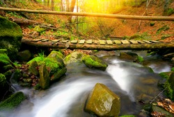 Wooden bridge over mountain stream in autumn forest