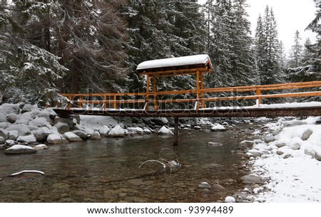 Wooden bridge over river in winter forest