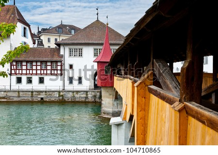 Wooden Bridge over the River Reuss in Lucerne, Switzerland