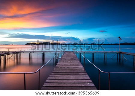 wooden bridge over the royal aquarium of sea animal in Chanthaburi province east of thailand