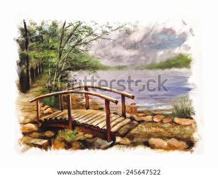 Wooden Bridge river torn edges