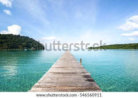 wooden bridge road to freedom and relax at sea from Thailand #546560911