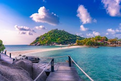 Wooden bridge to the island of Koh Nang Yuan, Surat thani, Thailand