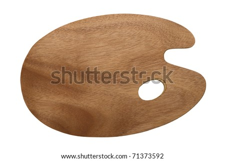 wooden brown art palette isolated on white background