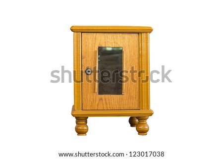 Wooden brown donation box with a lock, taken at front view, isolated