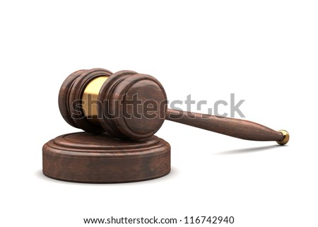 wooden brown gavel and soundboard isolated on white 3d