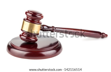 Wooden brown gavel closeup isolated on white background