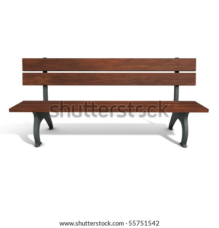 Wooden brown park bench. Three-dimensional, isolated on white