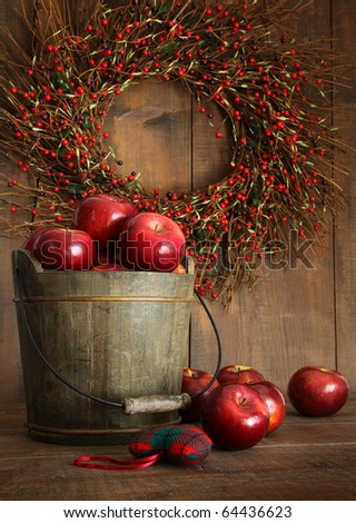 Wooden bucket of apples for the holidays