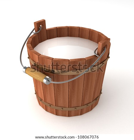 wooden bucket with milk on white background