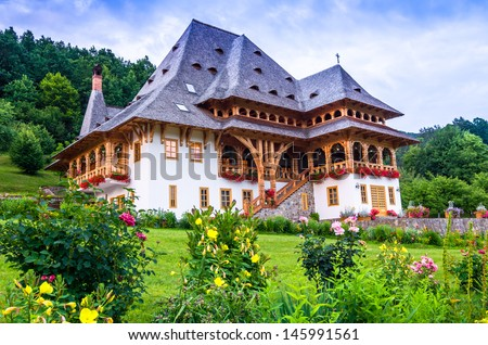 Wooden buildings, at Barsana monastery complex ,Maramures region, the northern part of the country,made by timber wood