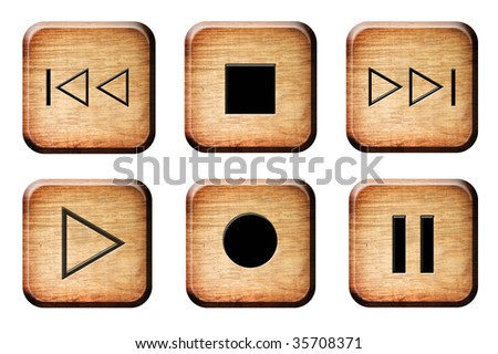 Wooden buttons over white background. Isolated illustrations