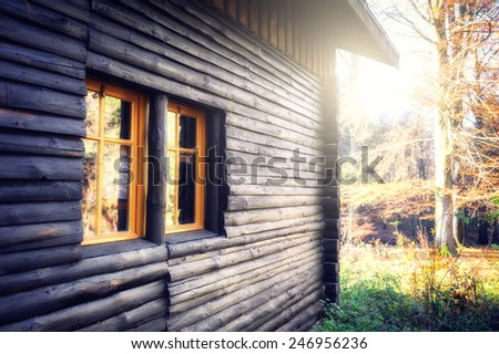 wooden cabin in autumn forest