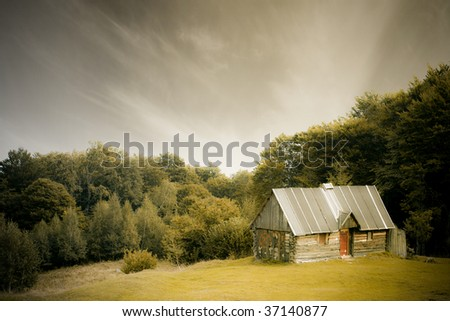 wooden cabin on the beautiful nature