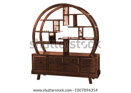 Wooden cabinet Chinese style isolated on white background work with clipping path.