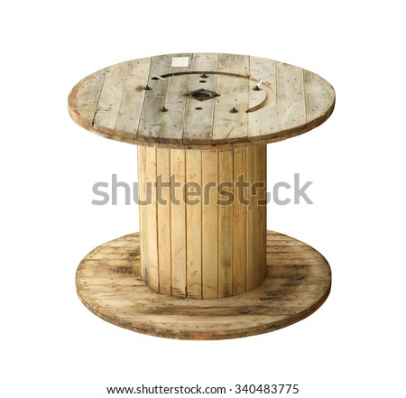 Wooden cable coil (with clipping path) isolated on white background Сток-фото ©