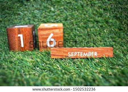 Wooden calendar on September 16 on a green grass background.World ozone day. #1502532236
