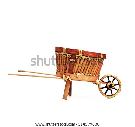 wooden cart standing isolated on white background