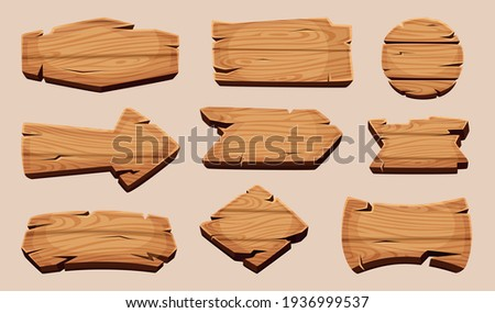 Wooden cartoon boards. Rustic label wooden ribbons template blank signboard picture Stockfoto ©
