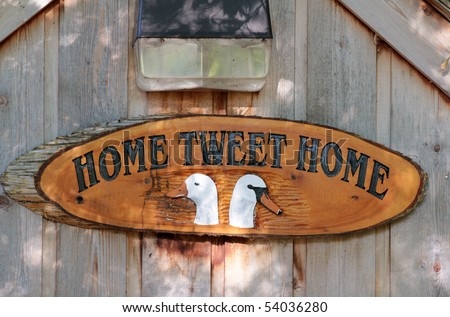 Wooden carved sign - Home for geese and ducks