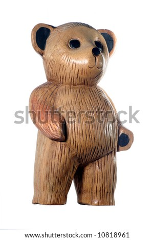 Wooden carved teddy bear standing up