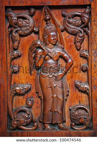 wooden carving on Sri Lanka - stock photo