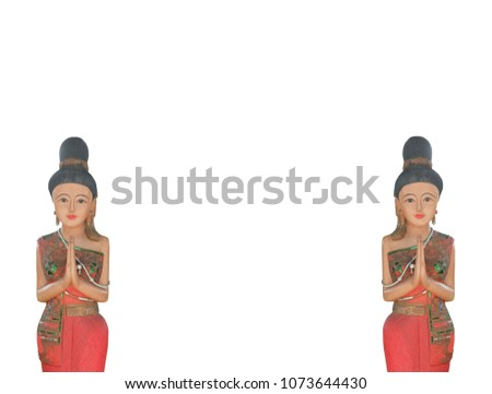 Free photos thai greeting avopix wooden carving representing thai greeting posture hello and welcome on white background 1073644430 m4hsunfo