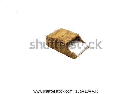 Wooden case on a white background. Can be used to illustrate texts, notes and other text materials. #1364194403