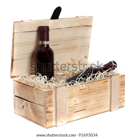 wooden case with two bottles of red wine