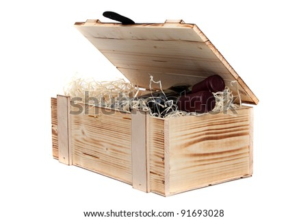 wooden case with wine