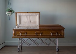 Wooden Casket at Abandoned Funeral Home