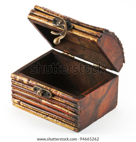 Wooden casket isolated on white background