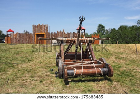 Wooden catapult that was used during the Middle Ages