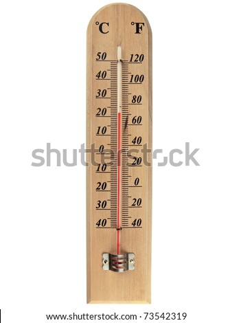wooden celsius fahrenheit thermometer over white