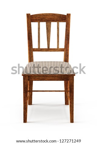 wooden chair - 3d illustration isolated on white