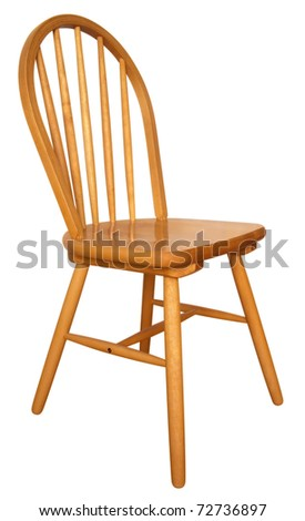 Wooden chair isolated on the white background. Clipping path includes.