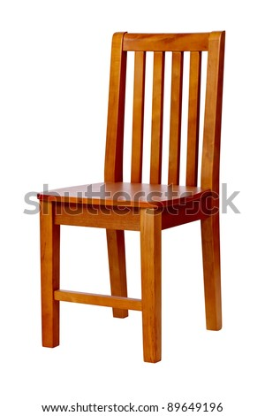 Wooden chair isolated over white, with clipping path