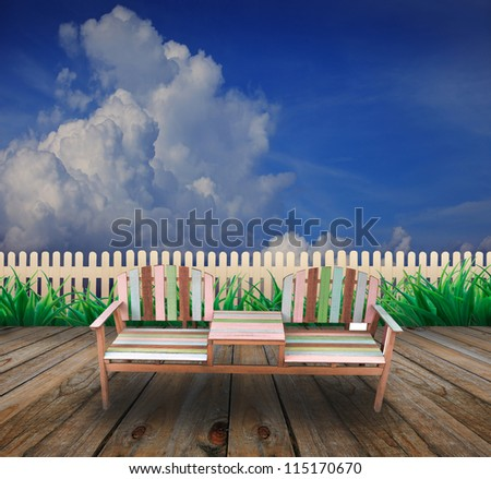 wooden chair on wood terrace of home garden